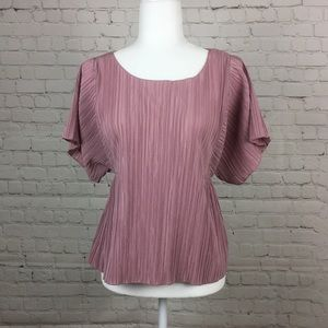 Madewell Micropleat Blush Pink Blouse Size Large